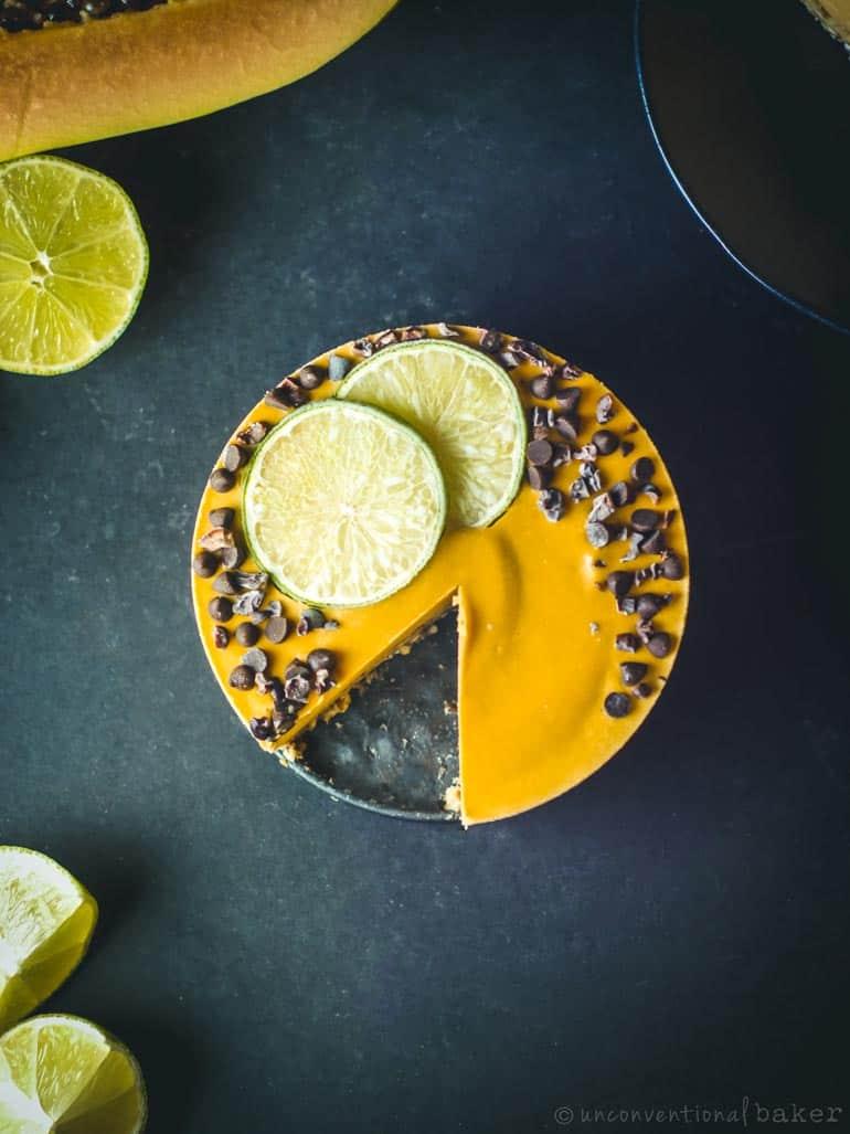 lime and papaya cake -- vegan, gluten-free, refined sugar-free